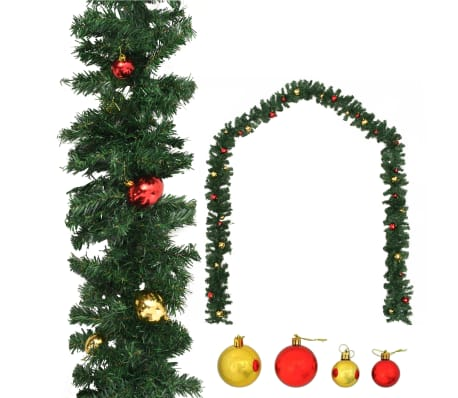 vidaXL Christmas Garland Decorated with Baubles 20 m