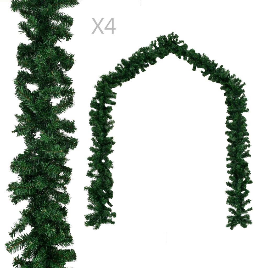 Vánoční girlandy 4 ks zelené 270 cm PVC