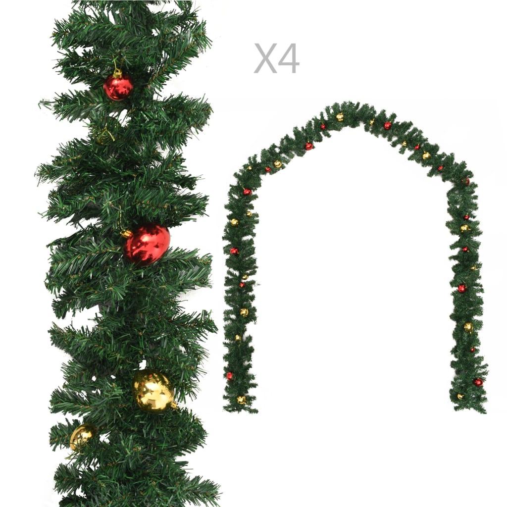vidaXL Ghirlande de Crăciun cu globuri, 4 buc., verde, 270 cm, PVC vidaxl.ro