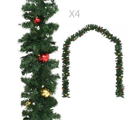 vidaXL Vánoční girlandy 4 ks s baňkami zelené 270 cm PVC