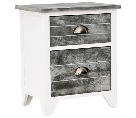 vidaXL Noptieră, gri și alb, 38 x 28 x 45 cm, lemn de paulownia