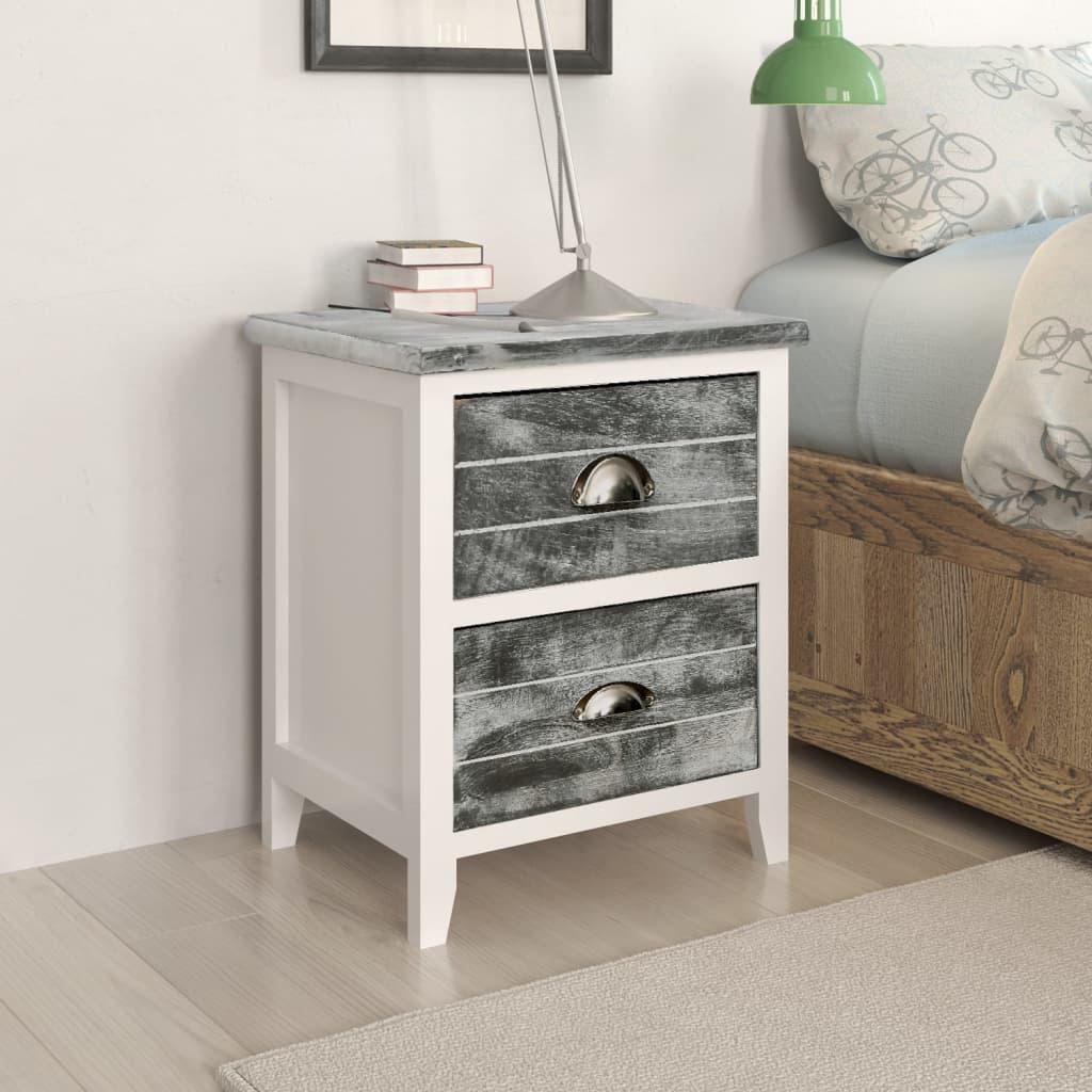 vidaXL Noční stolek šedý a bílý 38 x 28 x 45 cm dřevo pavlovnie