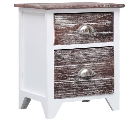 vidaXL Noptieră, maro și alb, 38 x 28 x 45 cm, lemn de paulownia