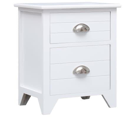 vidaXL Noptieră, alb, 38 x 28 x 45 cm, lemn de paulownia