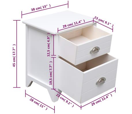 Vidaxl Table De Chevet Blanc 38x28x45 Cm Bois De Paulownia Vidaxl Ch