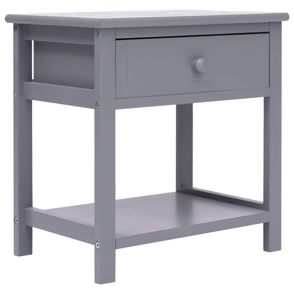 vidaXL Noční stolek šedý 40 x 29 x 42 cm dřevo pavlovnie