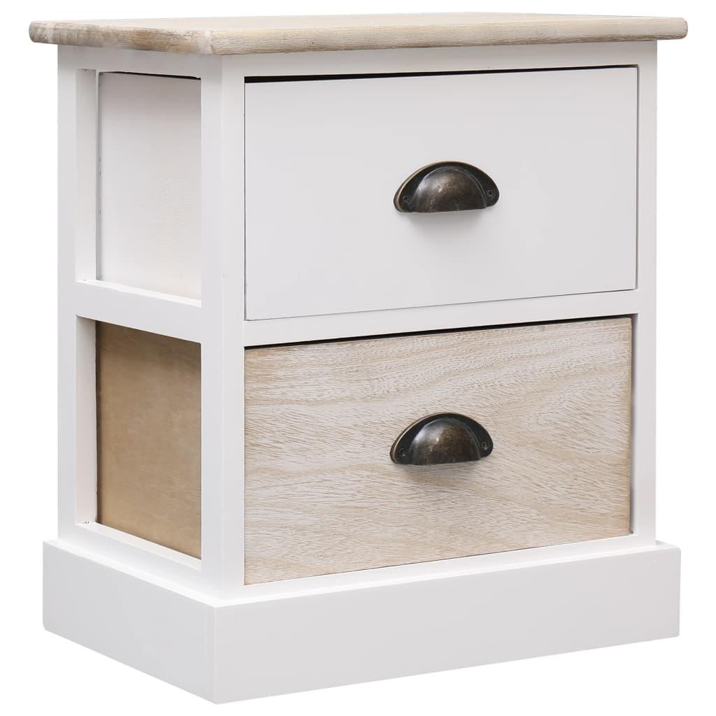 vidaXL Noptieră, alb și natural, 38 x 28 x 45 cm, lemn de paulownia poza vidaxl.ro