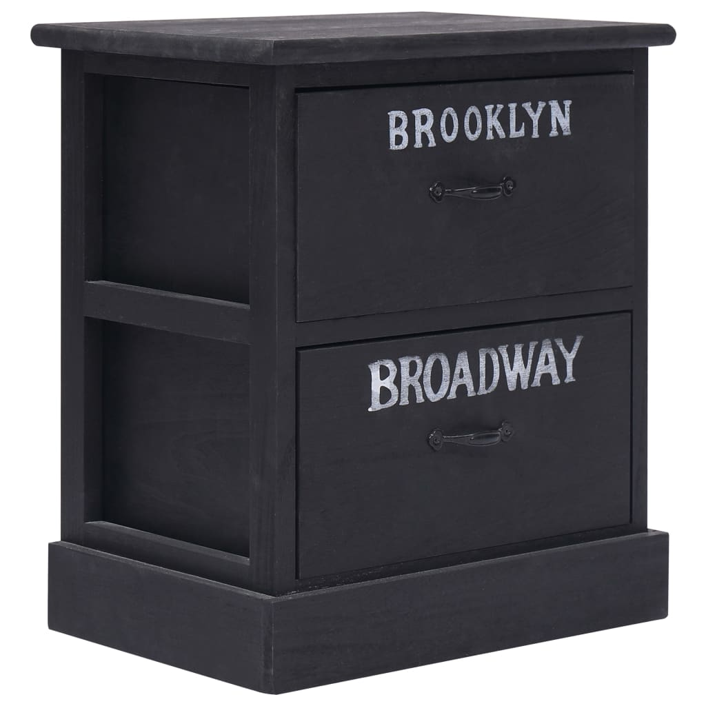 vidaXL Noční stolek černý 38 x 28 x 45 cm dřevo pavlovnie