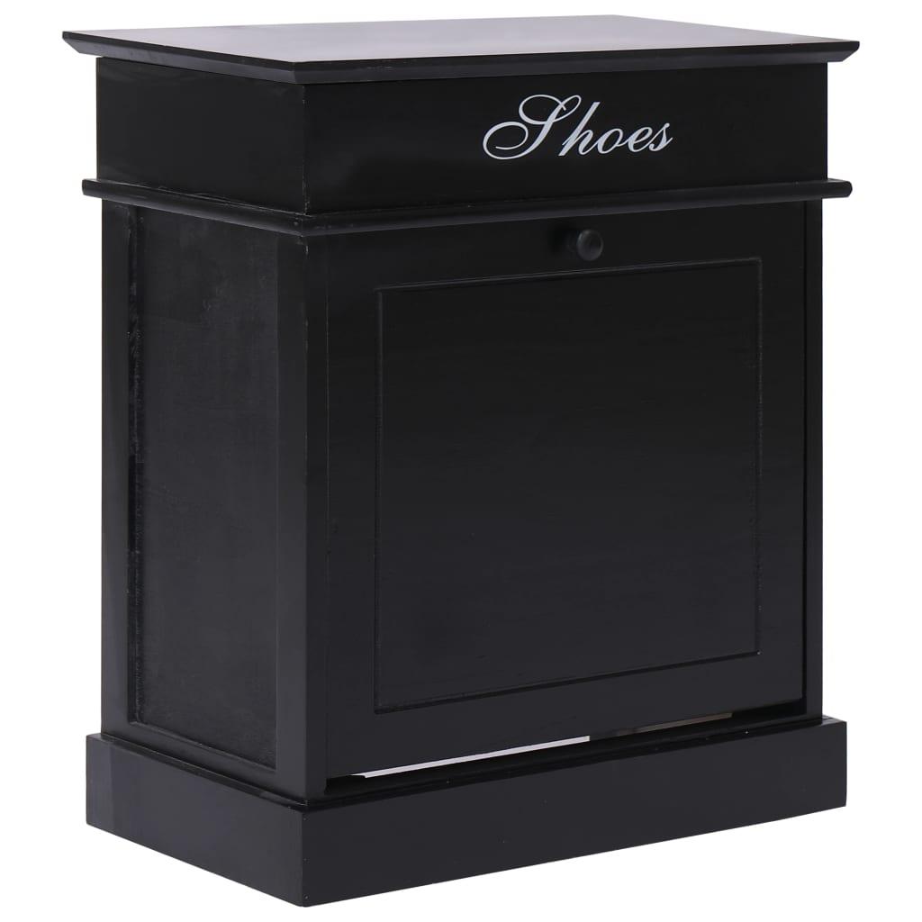 vidaXL Pantofar, negru, 50 x 28 x 58 cm, lemn de paulownia poza vidaxl.ro