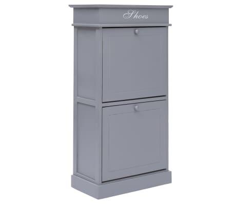 vidaXL Shoe Cabinet Grey 50x28x98 cm Paulownia Wood