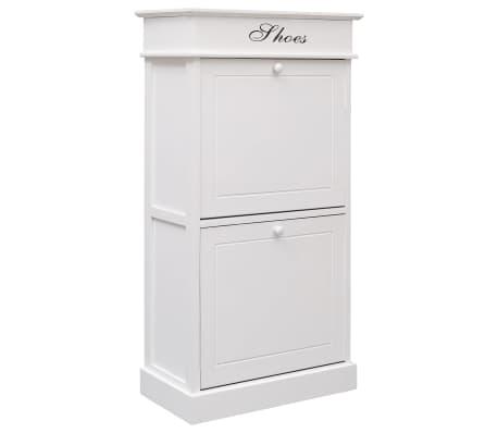 vidaXL Shoe Cabinet White 50x28x98 cm Paulownia Wood