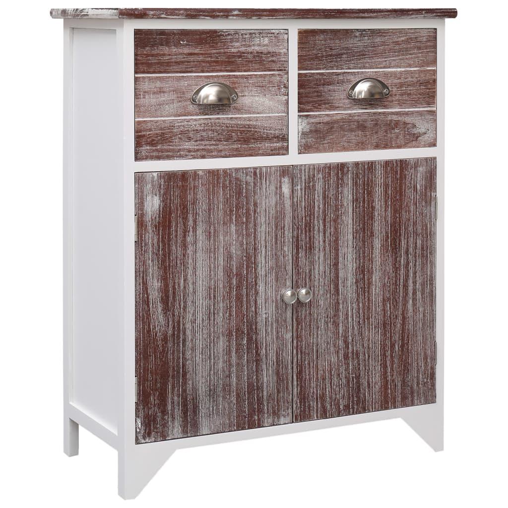 vidaXL Odkládací skříňka hnědo-bílá 60 x 30 x 75 cm dřevo pavlovnie