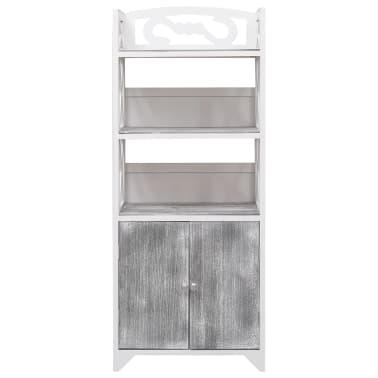 vidaXL Badkamerkast 46x24x116 cm paulowniahout wit en grijs[2/8]