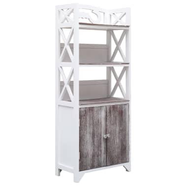 vidaXL Dulap de baie, alb și maro, 46 x 24 x 116 cm, lemn de paulownia[1/8]