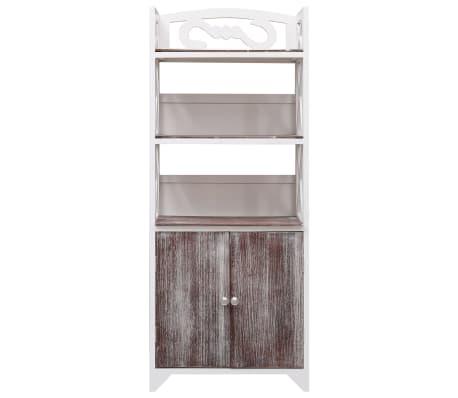 vidaXL Dulap de baie, alb și maro, 46 x 24 x 116 cm, lemn de paulownia[2/8]
