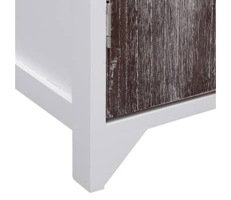 vidaXL Dulap de baie, alb și maro, 46 x 24 x 116 cm, lemn de paulownia[7/8]