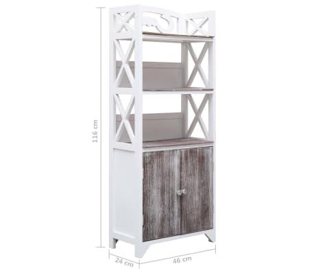 vidaXL Dulap de baie, alb și maro, 46 x 24 x 116 cm, lemn de paulownia[8/8]