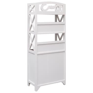 vidaXL Dulap de baie, alb și maro, 46 x 24 x 116 cm, lemn de paulownia[4/8]