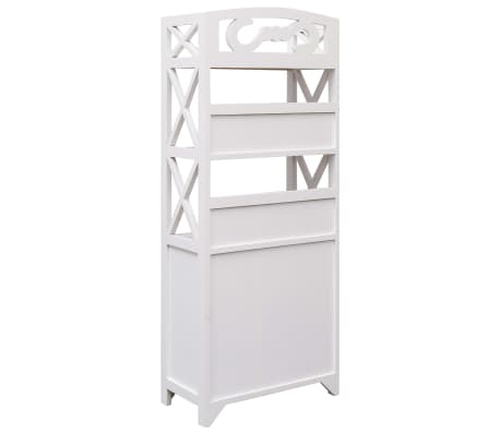 vidaXL Dulap de baie, alb, 46 x 24 x 116 cm, lemn de paulownia[4/8]