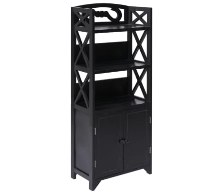 vidaXL Badkamerkast 46x24x116 cm paulowniahout zwart[1/8]