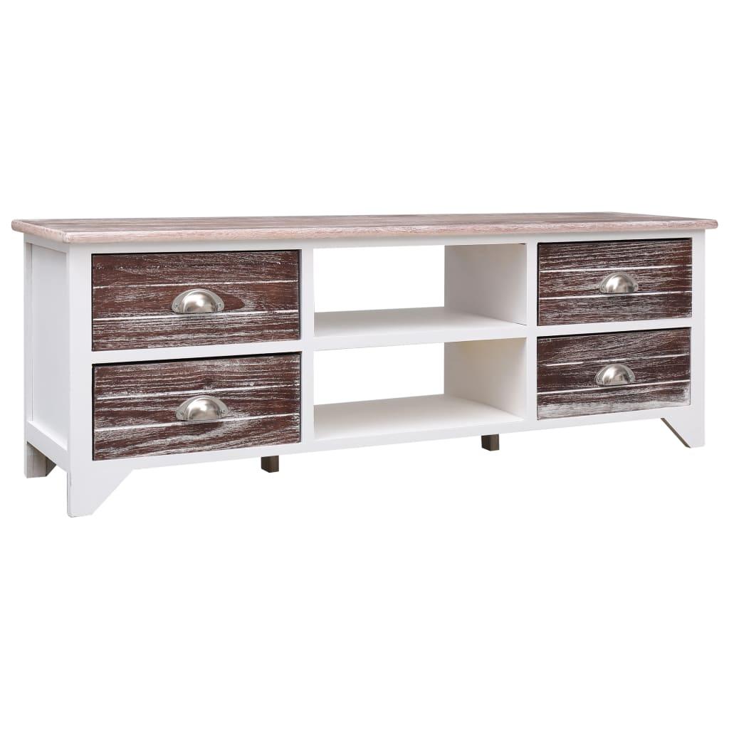 vidaXL Comodă TV, alb și maro, 115 x 30 x 40 cm, lemn de paulownia imagine vidaxl.ro