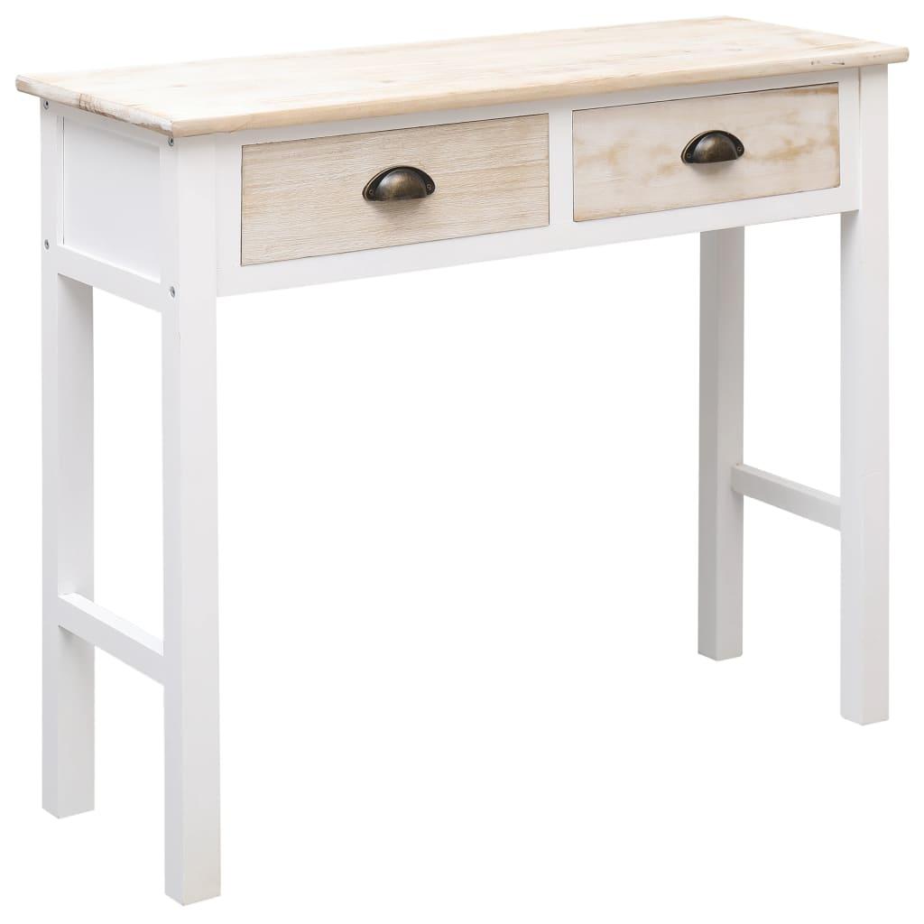 vidaXL Masă consolă, culoare naturală și alb, 90 x 30 x 77 cm, lemn vidaxl.ro
