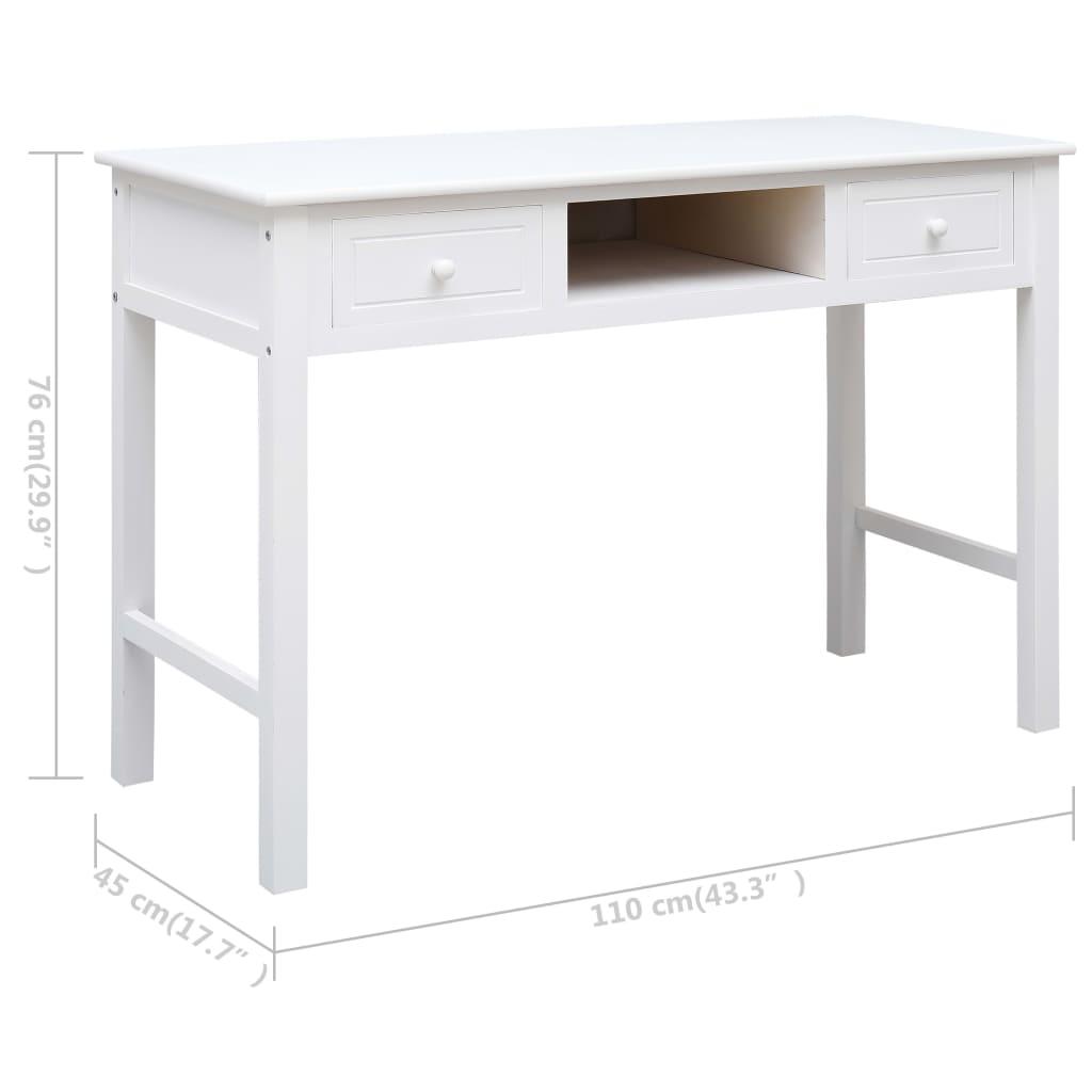 vidaXL Schrijftafel 110x45x76 cm hout wit