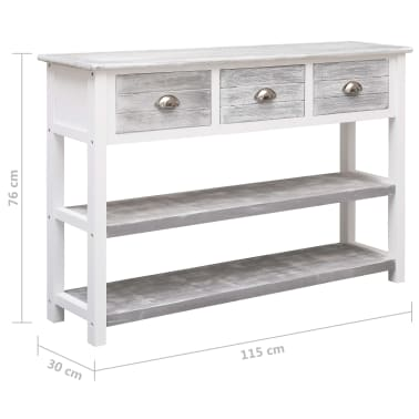 vidaXL Buffet Antique Gris 115 x 30 x 76 cm Bois[8/8]