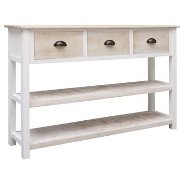 vidaXL Szafka, kolor naturalny i biały, 115 x 30 x 76 cm, drewniana[1/9]