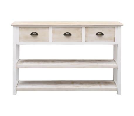 vidaXL Szafka, kolor naturalny i biały, 115 x 30 x 76 cm, drewniana[4/9]