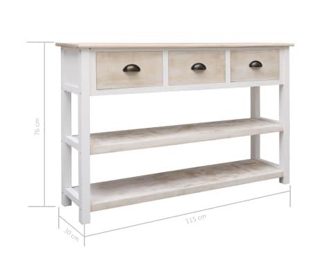 vidaXL Szafka, kolor naturalny i biały, 115 x 30 x 76 cm, drewniana[9/9]