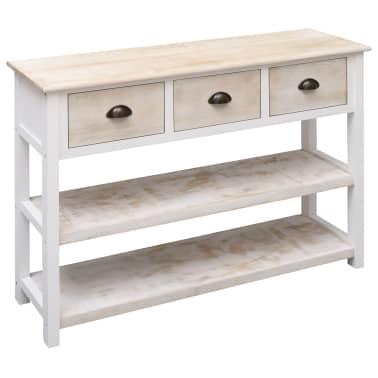 vidaXL Szafka, kolor naturalny i biały, 115 x 30 x 76 cm, drewniana[3/9]