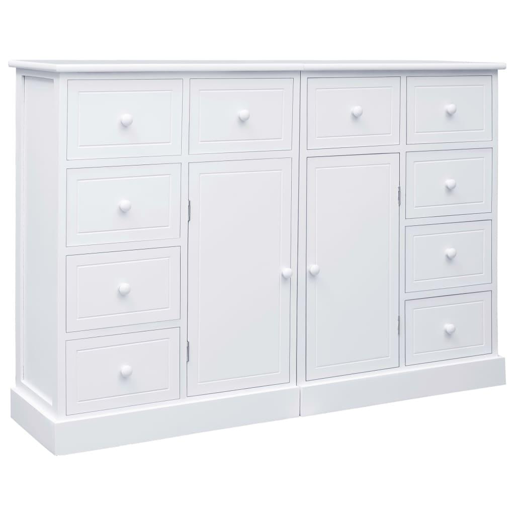 vidaXL Μπουφές με 10 Συρτάρια Λευκός 113 x 30 x 79 εκ. Ξύλινος