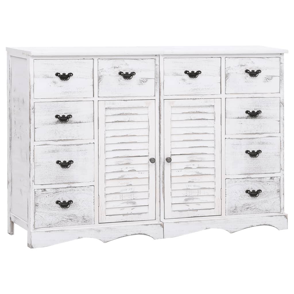 vidaXL Servantă cu 10 sertare, alb, 113 x 30 x 79 cm, lemn vidaxl.ro