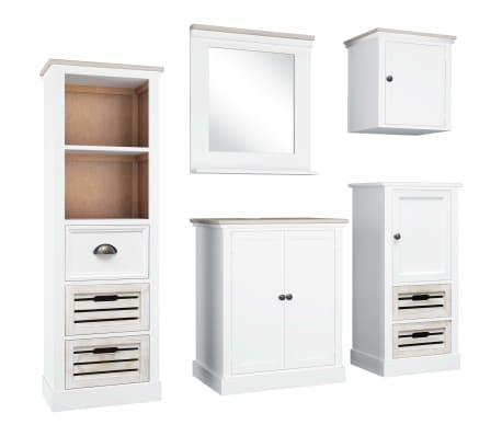 vidaXL Ensemble de mobilier de salle de bain 5 pcs Bois solide Blanc