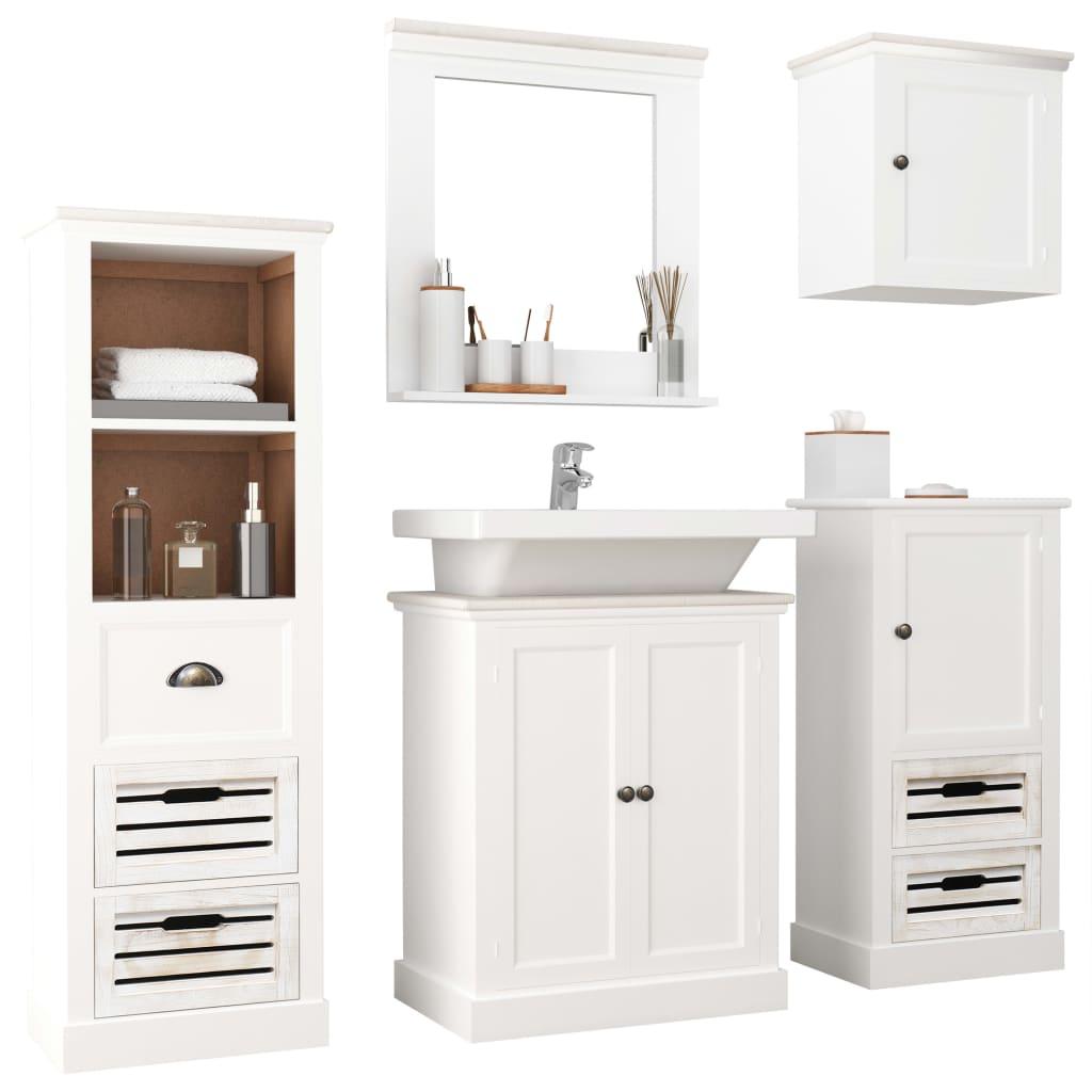 vidaXL 5dílný set koupelnového nábytku masivní dřevo bílý