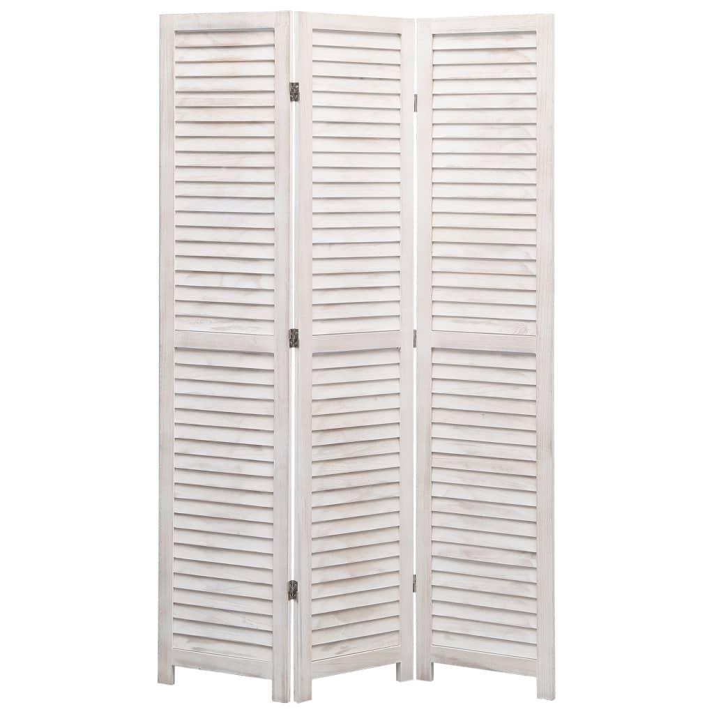 vidaXL Paravan de cameră cu 3 panouri, alb, 105 x 165 cm, lemn vidaxl.ro