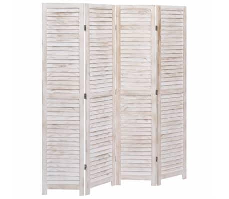 vidaXL Cloison de séparation 4 panneaux Blanc 140x165 cm Bois[1/6]