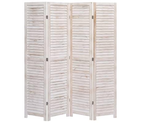 vidaXL Cloison de séparation 4 panneaux Blanc 140x165 cm Bois[2/6]