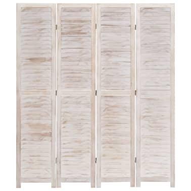 vidaXL Cloison de séparation 4 panneaux Blanc 140x165 cm Bois[3/6]
