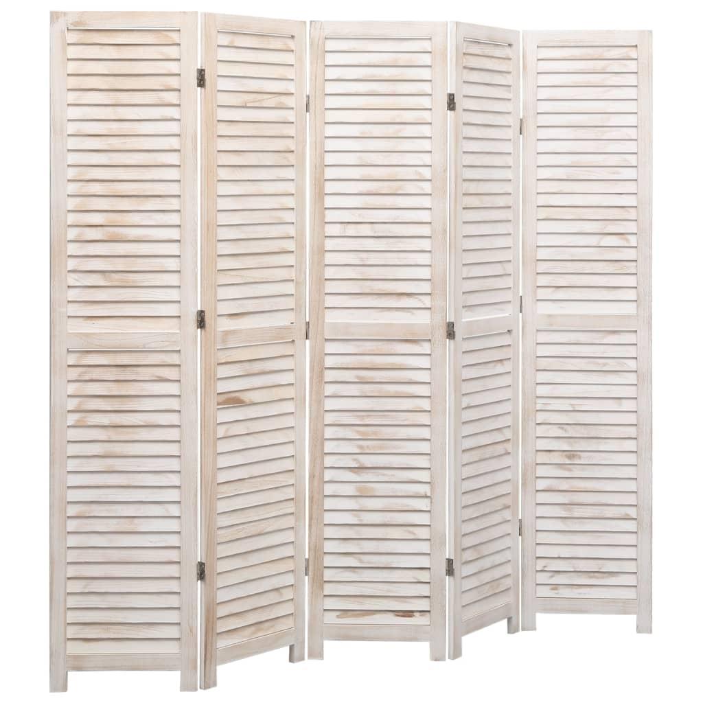vidaXL Parawan 5-panelowy, biały, 175 x 165 cm, drewniany