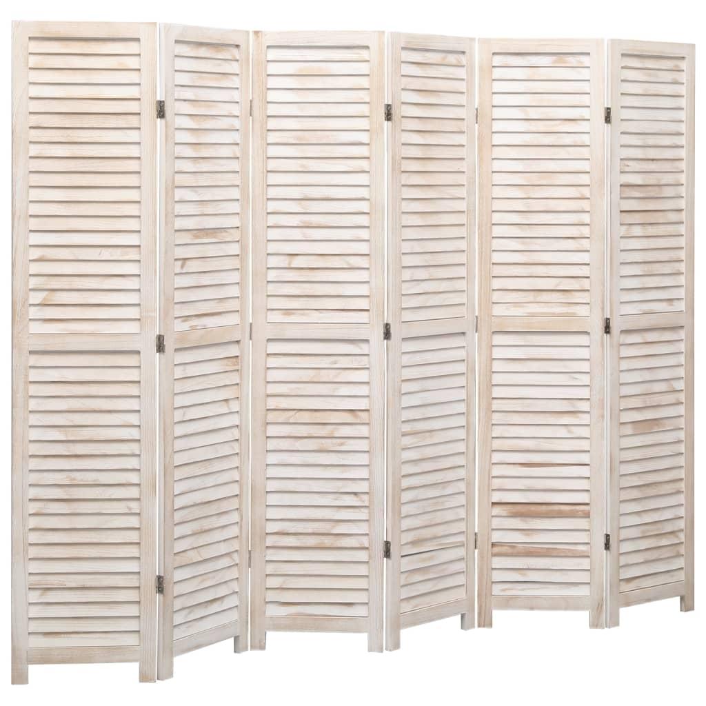 vidaXL Paravan de cameră cu 6 panouri, alb, 210 x165 cm, lemn imagine vidaxl.ro
