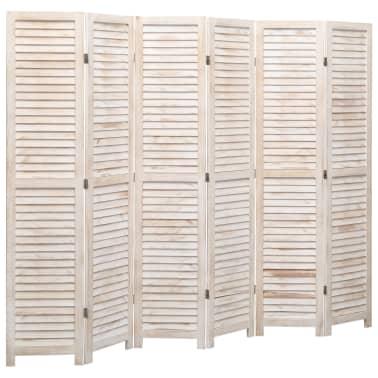 vidaXL Cloison de séparation 6 panneaux Blanc 210x165 cm Bois[1/6]
