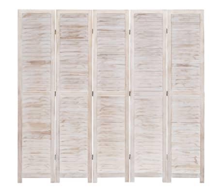 vidaXL Cloison de séparation 6 panneaux Blanc 210x165 cm Bois[3/6]