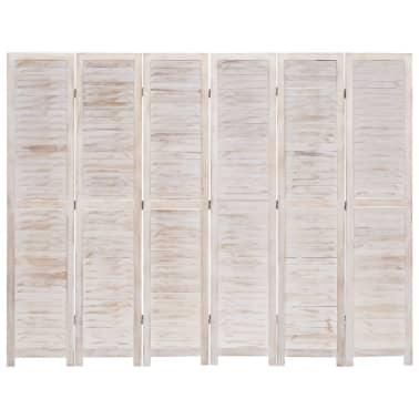 vidaXL Cloison de séparation 6 panneaux Blanc 210x165 cm Bois[2/6]
