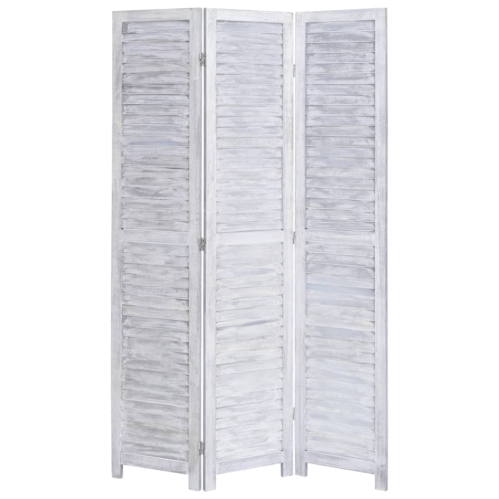 vidaXL Paravan de cameră cu 3 panouri, gri, 105 x 165 cm, lemn vidaxl.ro