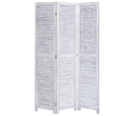 vidaXL Cloison de séparation 3 panneaux Gris 105x165 cm Bois