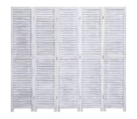 vidaXL Cloison de séparation 5 panneaux Gris 175x165 cm Bois[2/6]