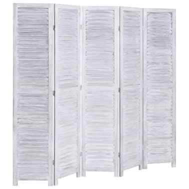 vidaXL Cloison de séparation 5 panneaux Gris 175x165 cm Bois[3/6]