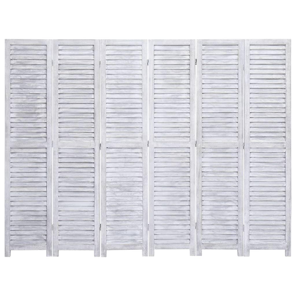 99284206 6-tlg. Raumteiler Grau 210×165 cm Holz